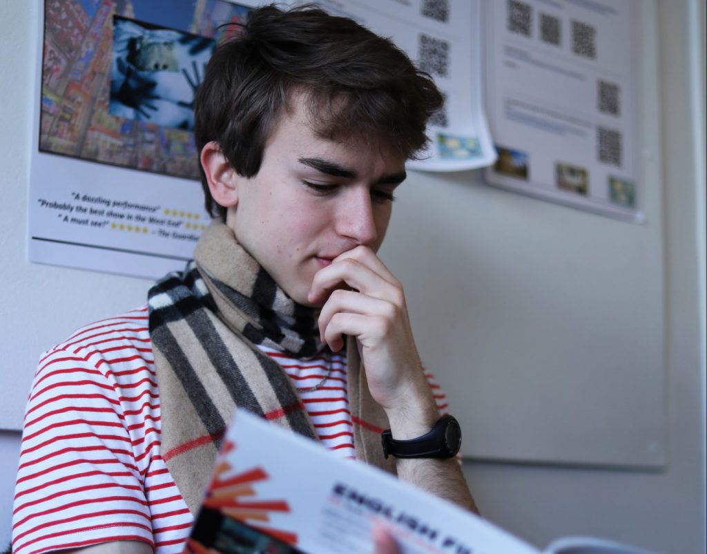 Student studying during a lesson