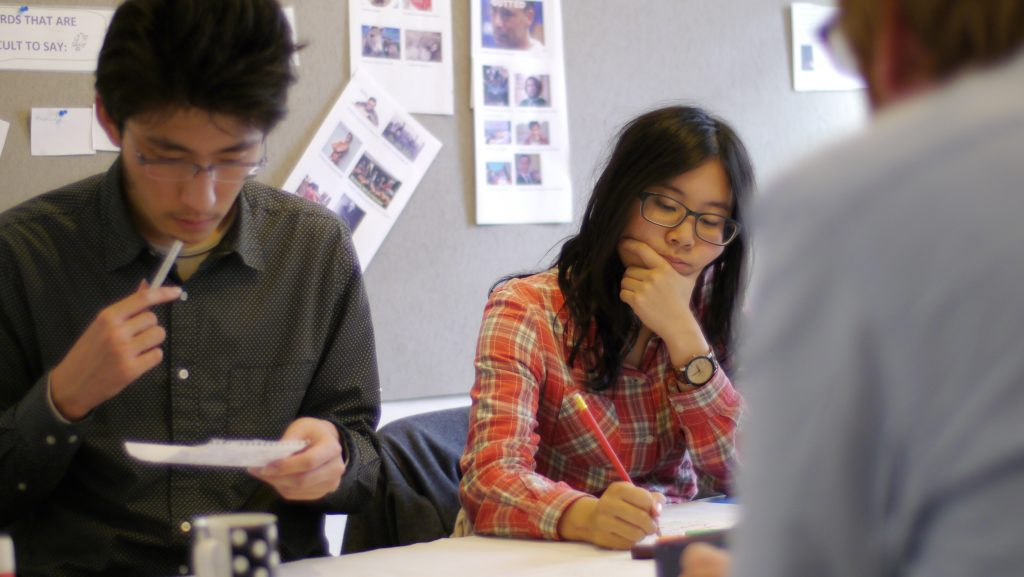 Students concentrating during the lesson