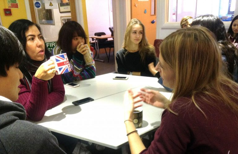 Students chatting in the common room