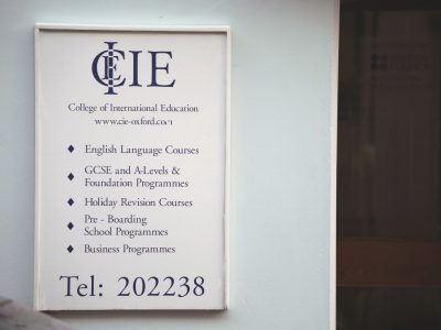 CIE entrance sign