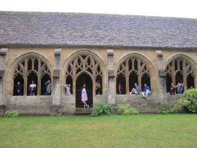 Junior students in the Harry Potter Cloisters at New College
